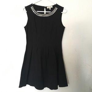 Monteau Black Pleated A-Line Dress